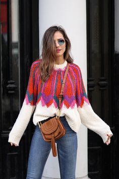Colorful & cool sweater looks - Lady Addict Colorful Fashion, Boho Fashion, Autumn Fashion, Winter Outfits, Casual Outfits, Knitwear Fashion, Cool Sweaters, Crochet Clothes, My Style