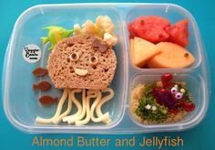 Almond Butter and Jellyfish Lunch  #vegetarian #bento #EasyLunchBoxes