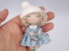 Cloth art cute mini dollhouse miniature doll, tiny fabric rag pocket doll, gift for her, small textile toy for doll Dollhouse Dolls, Miniature Dolls, Dollhouse Miniatures, Waldorf Dolls, Soft Dolls, Doll Crafts, Cute Dolls, Doll Patterns, Doll Toys