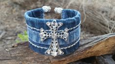 Check out this item in my Etsy shop https://www.etsy.com/listing/474678845/upcycled-denim-cuff-bracelet-with-a