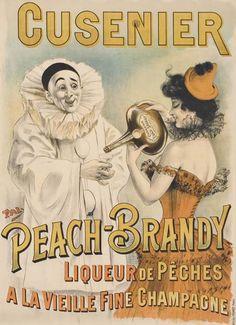 liqueur - Cusenier - Peach-brandy - Liqueur de pêches à la vieille fine de champagne - années 1900 - illustration de Pal (Jean de Paleologue) -