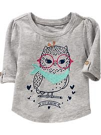 Roll-Sleeve Graphic Tees For toddler girl/baby Old Navy