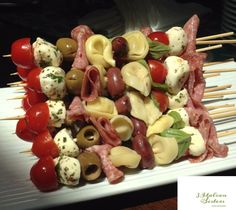 Photos – 3 Italian Sisters Homestyle Cooking Class- Coastal SC (Conway, SC) – Me… Fotos – 3 Italian Sisters Homestyle-Kochkurs – Coastal SC (Conway, SC) – Meetup Skewer Appetizers, Appetizers For Party, Appetizer Recipes, Antipasto Kabobs, Snacks Recipes, Appetisers, Party Snacks, Paleo Recipes, Tortellini Skewers