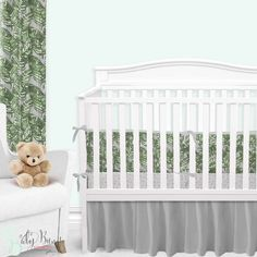 Palm leaf baby bedding, with a twist. This grey and emerald green baby bedding set is simple yet sophisticated. We adore the watercolor brushstroke palm leaf print with a grey background. This look has us feeling like we're in a tropical rainforest nursery. Girl Crib Bedding Sets, Custom Baby Bedding, Girl Cribs, Nursery Bedding, Nursery Decor, Girl Nursery, Crib Bumper Set, Architecture, Girl Names