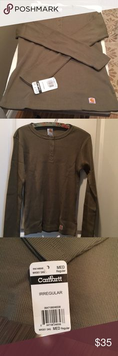 Carhartt Irregular Sage Green Size M Henley This is a very nice shirt. It is in great shape except for a stamp in the inside of shirt. It does not go through. Notice photos. My home is smoke free I do have pets. 💫ONLY REASONABLE OFFERS WELCOME 💫🚫 NO TRADES🚫 Thanks for taking a look at my closet 😀. Have any questions please feel free to ask 😊 Carhartt Tops Tees - Long Sleeve