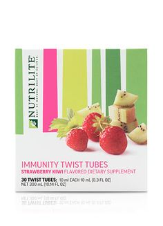 116872 - NUTRILITE® Twist Tubes - Strawberry Kiwi flavor for Immunity  Description Simply twist open a tube and add to at least 16 oz. of water. Shake or stir to blend and enjoy delicious strawberry kiwi flavor and immune-boosting health benefits. Benefits An easy and convenient way to create a flavorful, immune-boosting drink from plain water. Formulated with 1,000 mg of vitamin C. No artificial colors or flavors. Low calorie, just 20 calories per tube.