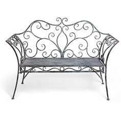 French Iron Scroll Metal Garden Bench for seats with chiffon woven through the… Iron Furniture, Steel Furniture, Outdoor Furniture, Wrought Iron Chairs, Wrought Iron Decor, Metal Garden Benches, Iron Bench, Iron Art, Iron Doors
