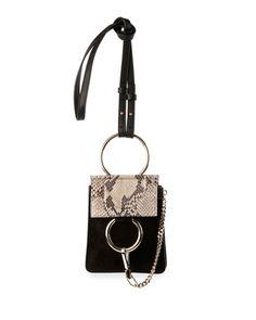 Faye Python & Suede Mini Crossbody Bag, Black by Chloe at Neiman Marcus.