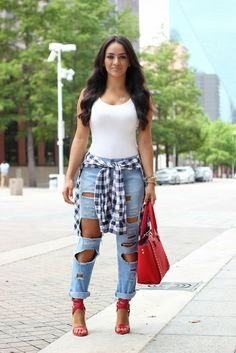 how to wear a plaid shirt tied around waist - Google Search