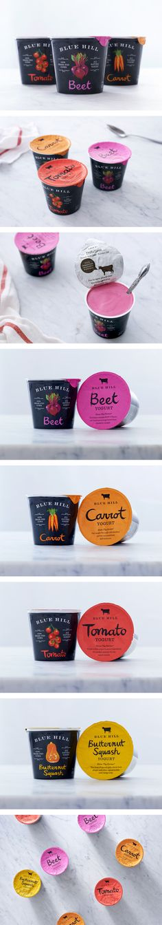 What I like about the Blue Hill Yogurt Design is the great use of bold colors against a black background. But I am not sure, how I feel about vegetable flavored yogurt, apart from cucumber-flavor, this is taste is awesome. Yogurt Packaging, Ice Cream Packaging, Food Packaging Design, Beverage Packaging, Pretty Packaging, Brand Packaging, Packaging Inspiration, Danette, Label Design