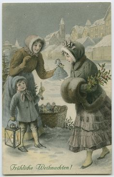 Fröhliche Weihnachten from some German Christmas shoppers, c. Old Time Christmas, German Christmas, Old Fashioned Christmas, Christmas Scenes, Christmas Past, Christmas Greetings, Christmas Postcards, Xmas, Vintage Christmas Images