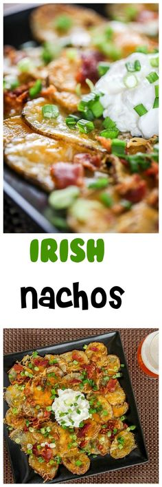 Irish Nachos: Crisp potato rounds topped with crispy bacon and gooey cheese. Your new favorite appetizer or side dish: so addicting!
