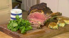 Roast mustard rib of beef & mulled wine onion gravy
