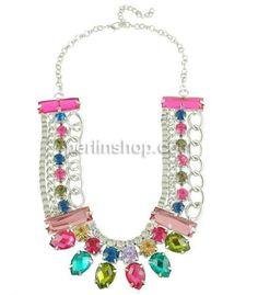Kristall Zinklegierung Halskette, mit Kristall, mit Verlängerungskettchen von 2.5lnch