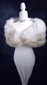 Norwegian Blue Fox Fur Stole , Luxury VIntage Fur , Great Gatsby Fur , Bridal Fur Bolero , Winter Wedding Fur