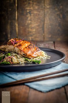 Miso Marinated Salmon on Somen Noodle Salad
