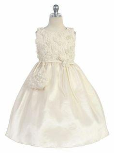 Ivory Tulle Rosebud Bodice w/ Taffeta Skirt Cute Flower Girl Dress