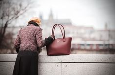 Otis Red Heritage Brierley Bag with the old castle in the background. Luxury Handbags, Prague, Leather Handbags, Madewell, Old Things, Castle, Tote Bag, Red, Luxury Purses