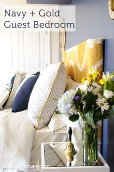 Navy + Gold Guest Bedroom Decorating Ideas On Polkadotchair.com Navy Gold  Bedroom, Indigo