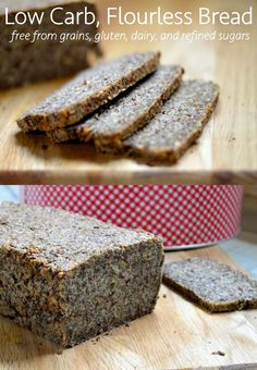 Flourless Bread recipe that's low carb and 100% grain and gluten free AND contains less than 1g carb per slice! Perfect bread for diabetics or those seeking a healthy, delicious and health friendly alternative to normal bread!