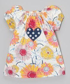 Another great find on #zulily! Pink & Orange Daisy Peasant Top - Toddler & Girls #zulilyfinds