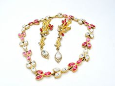 Pink Rhinestone Necklace Clip Earrings Set Vintage Fashion