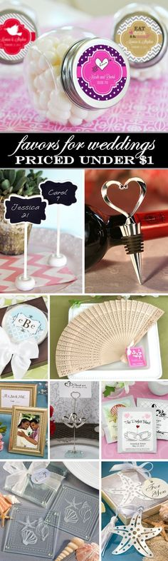 100 Affordable Wedding Favors that are priced under $1.  I love the heart bottle stoppers and the sandalwood fans....gorgeous and cheap!! #WeddingFavorsCheap