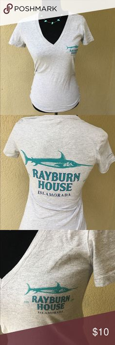 """🆕Grey Rayburn House tshirt Heather Grey Rayburn House vneck tshirt. Are you a Netflix original Bloodline fan? Show has been filmed in the Keys in Florida for the past three seasons. Islamorada, Key Largo to name only a couple. EUC Bust laying flat armpit to armpit 14.5"""" length 25"""". I also have this in a white medium version see other listing.✅I ship same or next day ✅Bundle for discount Bella Canvas Tops Tees - Short Sleeve"""