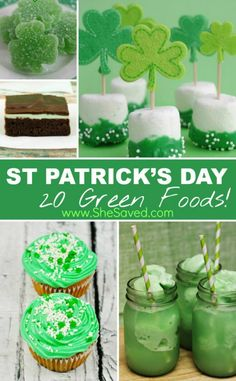St. Patrick's Day GREEN Food Recipes by She Saved. Here are some Green Food ideas to plan some really fun and creative ways to sneak this festive color into your St. Patrick's day festivities!