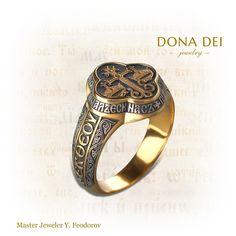 Unique Byzantine Gold & Silver Mens Ring, Wedding Band, Signet Ring, Orthodox, Greek Wedding, Christian Ring, Master Jeweler Yuri Feodorov by DonaDeiJewelry on Etsy https://www.etsy.com/listing/467823068/unique-byzantine-gold-silver-mens-ring