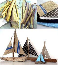 bateaux en bois flotté