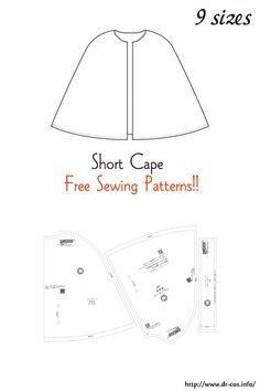 Capelet Pattern Sewing, Cloak Pattern, Hood Pattern Sewing, Doll Clothes Patterns, Sewing Clothes, Clothing Patterns, Barbie Clothes, Hooded Cape Pattern, Kids Cape Pattern