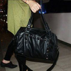 $19 Casual Trendy Women's Tote Bag With Black Rivets and Tassels Design