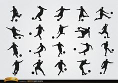 Football players silhouettes, they are kicking the ball in 20 different positions; perfect vector for soccer ads, handbooks, promos, etc.High quality JPG included. Under Commons 4.0. Attribution License.