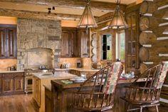 Rustic kitchen http://www.houzz.com/photos/412450/Cronacher-14-jpg--dining-room-  #kitchen #rustic #cabin