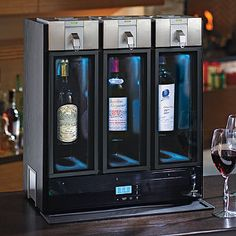 Never waste another drop of wine. This smart Skybar System dispenses a perfect glass every time using a unique method that decants as it pours. Plus, it preserves wine at the optimal temperature for up to 10 days after opening.