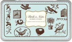 Cavallini Birds & Nests Rubber Stamp Set