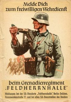 "Nazi recruitment poster, ""Enlist to a volunteer military service with the 'Feldherrnhalle' Grenadier Regiment"""