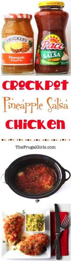 Ingredients} - The Frugal Girls Crockpot Pineapple Salsa Chicken Recipe! Ingredients} - The Frugal Girls Crock Pot Slow Cooker, Slow Cooker Chicken, Slow Cooker Recipes, Crockpot Recipes, Chicken Recipes, Cooking Recipes, Crock Pots, Crockpot Dishes, Shrimp Recipes