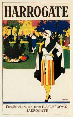 1924 Art Deco mini travel poster designed by R. E. Higgins