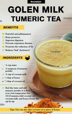 Detox Drinks, Healthy Drinks, Healthy Recipes, Health Drinks Recipes, Healthy Juices, Healthy Snacks, Turmeric Tea Benefits, Curcuma Benefits, Milk With Turmeric