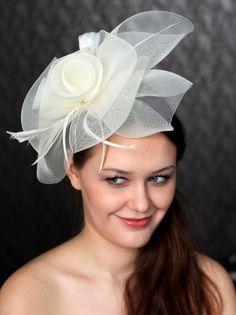 9c7675d0d15 Bridal Crinoline Cocktail Hat   Ivory Crinoline by klaxonek