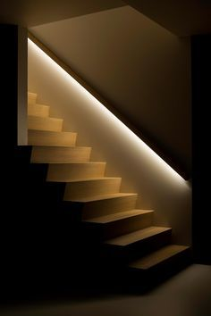 Staircase ideas - design and layout ideas to inspire your own staircase remodel painted diy decorating basement remodel pictures - Modern staircase ideas - March 23 2019 at Stairway Lighting, Strip Lighting, House Lighting, Bedroom Lighting, Stairs With Lights, Led Stair Lights, Garage Lighting, House Stairs, Basement Stairs