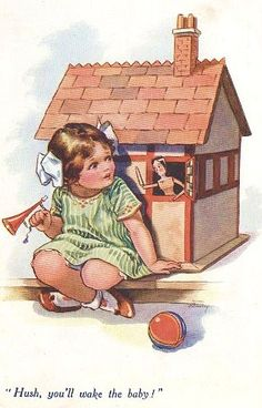 vintage girl with dollhouse illustration