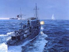 1941 USS Ward - Tom Freeman A painting by Tom Freeman of the USS Ward, commanded by Captain Outerbridge, firing on the… Uss Helena, Go Navy, Us Navy Ships, Pearl Harbor Attack, Man Of War, Naval History, Ship Art, Aircraft Carrier, Military Art