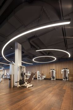 M Elements, Eschborn, Germany Gym Lighting, Linear Lighting, Lighting Design, Ceiling Lighting, Lighting Ideas, Gym Interior, Lobby Interior, Home Gym Design, House Design