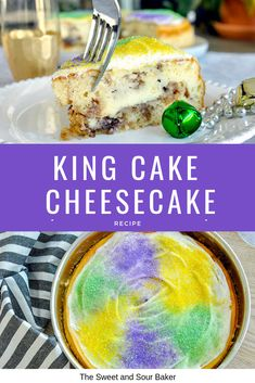 You'll love this easy gluten free king cake recipe! This turns a king cake recipe traditional into adorable gluten free king cake bundt cakes and makes king cake gluten free. These gluten free mini king cakes are the perfect way to celebrate Mardis Gras! King Cake Cheesecake Recipe, Cheesecake Recipes, Mardi Gras Cheesecake Recipe, Cream Cheese King Cake Recipe, Easter Cheesecake, Homemade Cheesecake, Mardi Gras Desserts, Mardi Gras Food, Easy Cake Recipes