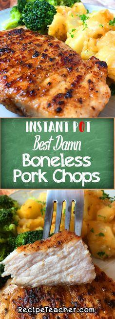 Damn Instant Pot Boneless Pork Chops The best Instant Pot boneless pork chops. Thick, juicy, tender and delicious!The best Instant Pot boneless pork chops. Thick, juicy, tender and delicious! Pork Chop Recipes, Crockpot Recipes, Chicken Recipes, Cooking Recipes, Cooking Games, Cooking Classes, Cooking Videos, Best Pork Chop Recipe, Culinary Classes