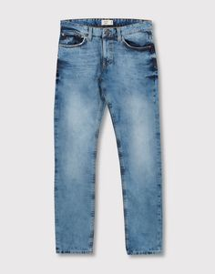 Pull&Bear - hombre - ropa - jeans - jeans slim fit lavado medio - azul - 05683535-I2016