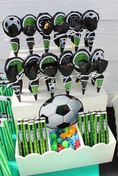 Soccer boy birthday party treats! See more party ideas at CatchMyParty.com!
